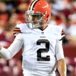 LANDOVER, MD - AUGUST 18: Quarterback Johnny Manziel #2 of the Cleveland Browns gives the thumbs up to the bench during the third quarter of a preseason game against the Washington Redskins at FedExField on August 18, 2014 in Landover, Maryland.  (Photo by Rob Carr/Getty Images)